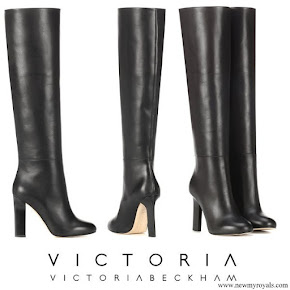 Meghan Markle wore Victoria Beckham black leather knee-high heel boots