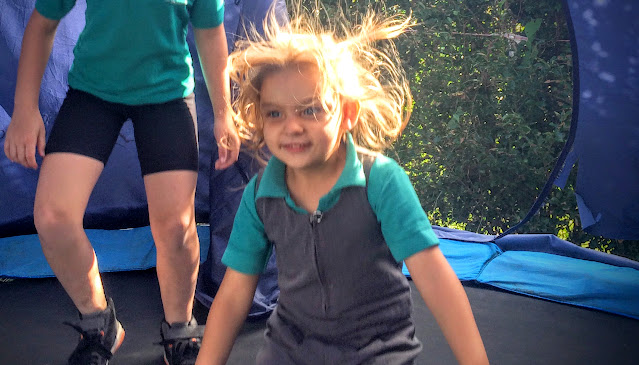 trampoline, girl on trampoline, garden, jump, fitness,