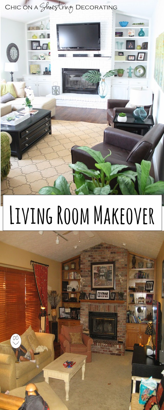 living room makeover by Chic on a Shoestring Decorating blog