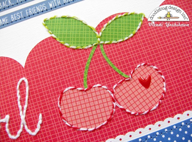 Doodlebug Design Cherry Themed Layout by Mendi Yoshikawa using Stitching with Baker's Twine