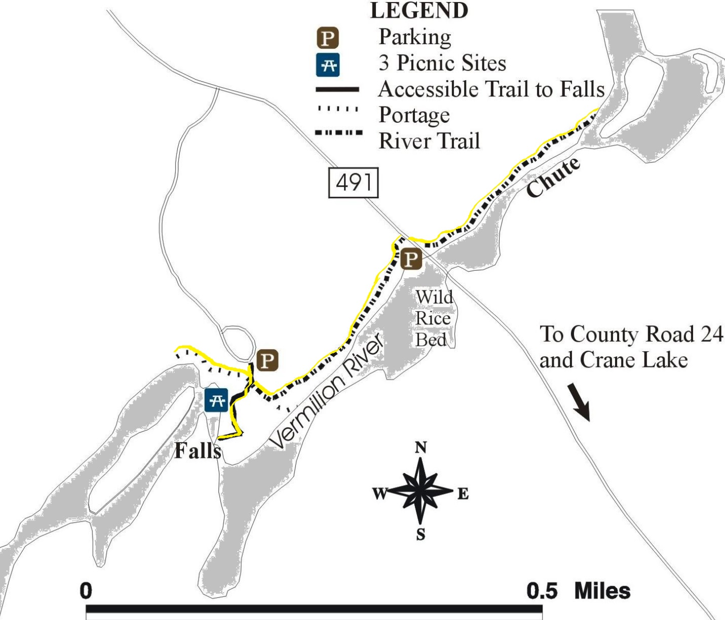 vermilion falls trail map courtesy of u s forest service