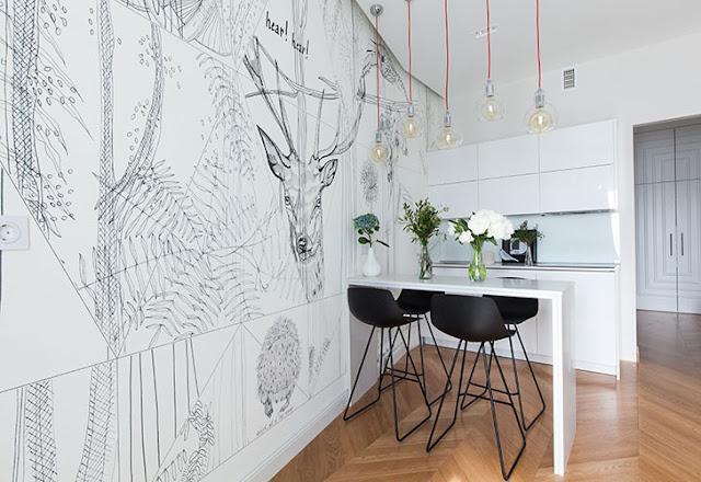 desene pe perete in bucatarie