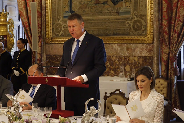 King Felipe and Queen Letizia and Romanian President Klaus Werner Iohannis and wife Carmen Iohannis