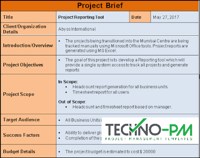 Project Brief, Project Brief Template