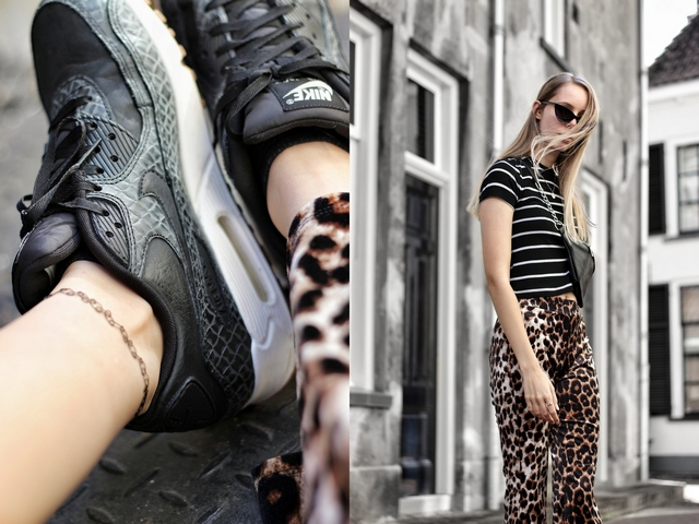Outfit met Invito leopard broek Primark gestreepte crop top Aliexpress crossbody buiktas Nike Air Max 90 sneakers mode blog