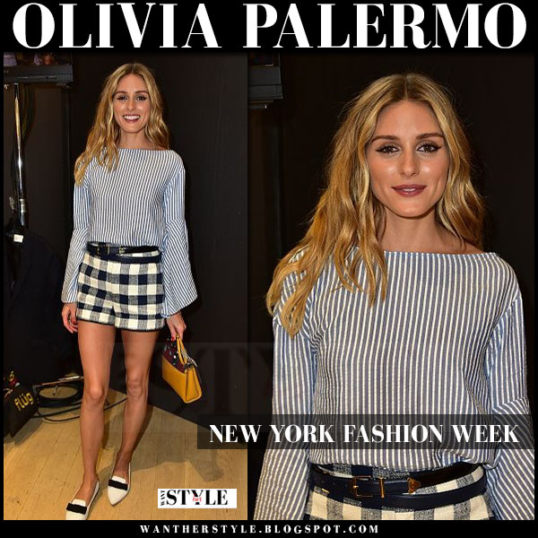 Olivia Palermo in striped blouse, blue check shorts, white jimmy choo gala flats and yellow bag paula cademartori nyfw front row what she wore