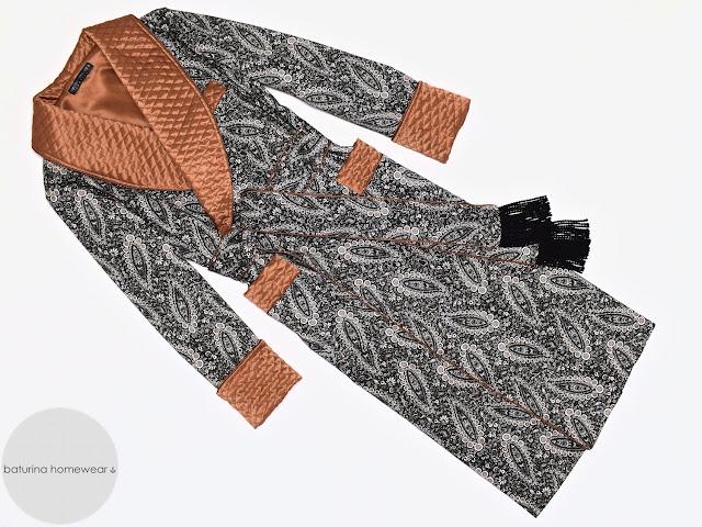 Men's paisley cotton dressing gown warm long quilted silk robe black white gold gentleman smoking jacket vintage