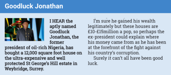 Goodluck Jonathan house in London
