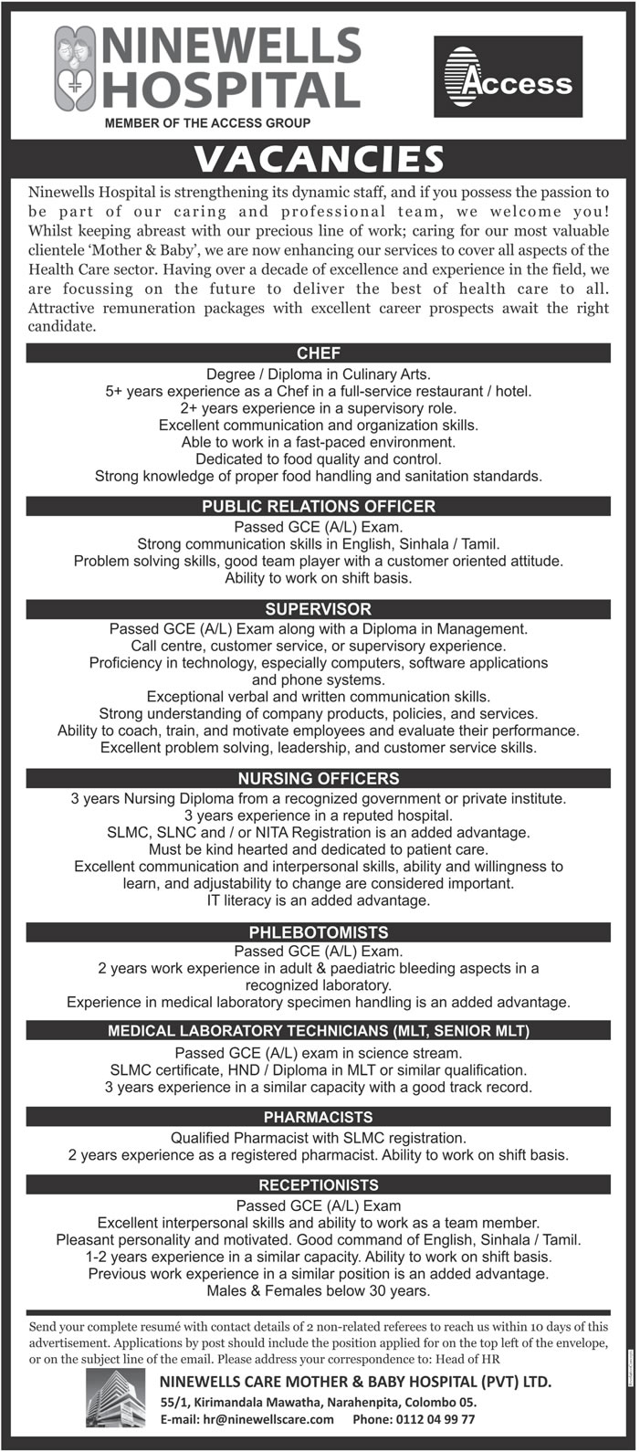 Vacancies for Receptionists, Pharmacists, Medical Laboratory