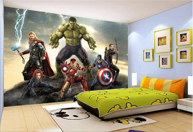 Avengers wall mural childrens room 3D marvel comics Photo Wallpaper bedroom Kids Boys super hero hulk thor ironman