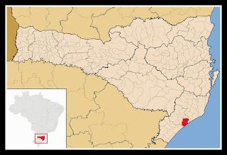 Cidade de Içara, no mapa de Santa Catarina
