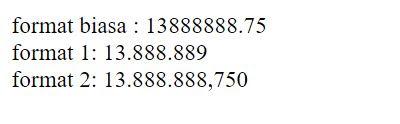 cara menggunakan format_number di php untuk merubah format angka biasa menjadi format rupiah di php