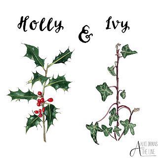 Holly and Ivy drawing by Alice Draws The Line
