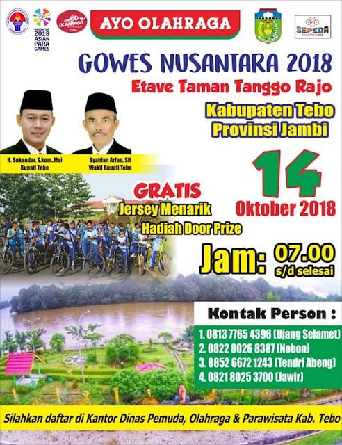 Gowes Sepeda Nusantara 2018 Kabupaten Tebo, Ini Jadwal Selengkapnya