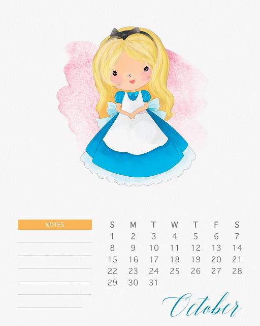 Calendario 2017 de las Princesas Disney para Imprimir Gratis  Octubre.