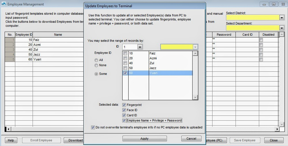 Changing Employee ID in TCMS V2 and FingerTec devices