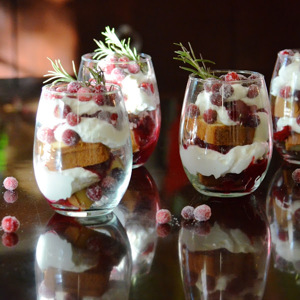 Cranberry Orange Trifle // Sugared Cranberries