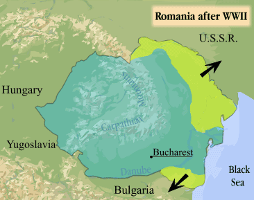 A Map of Transylvania Romania After World War Two
