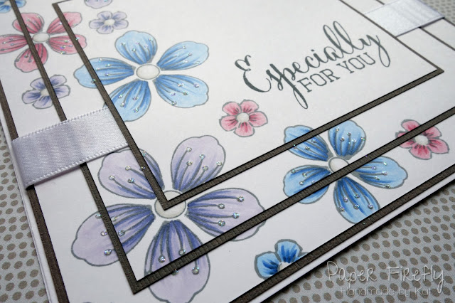 Triple layer stamped floral card