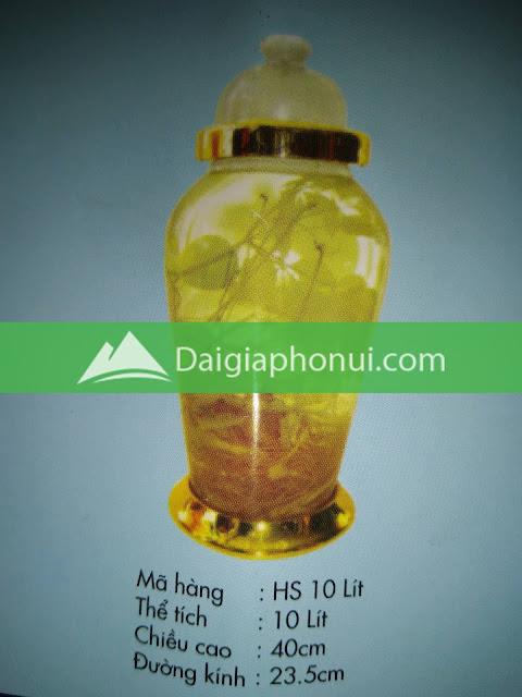 thông số bình ngâm rượu Phú Hoà mã số HS 10 LÍT