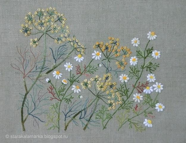 Sadako Totsuka, Herb embroidery on linen, японская вышивка, садако тоцука, вышивка гладью, лаконичная вышивка, стара каламарка