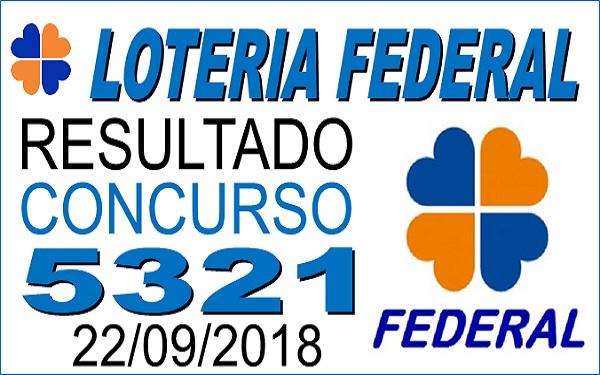Resultado da Loteria Federal concurso 5321 de 22/09/2018 (Imagem: Informe Notícias)