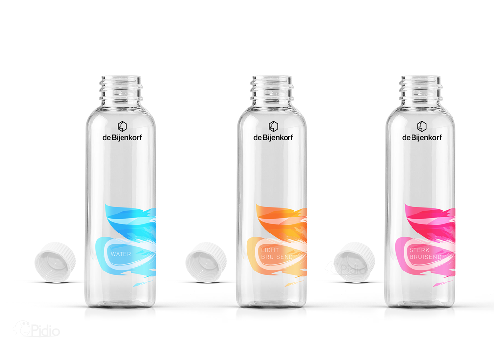 luxury water bottles for bijenkorf student project on packaging of
