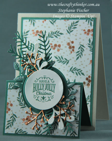#thecraftythinker #stampinup #cardmaking #christmascard #funfold #doubleeaselcard #crazycraftersbloghop , Double Easel Card, Fun Fold, Christmas Card, Pretty Pines, Foliage Frame , Stampin' Up Australia Demonstrator, Stephanie Fischer, Sydney NSW
