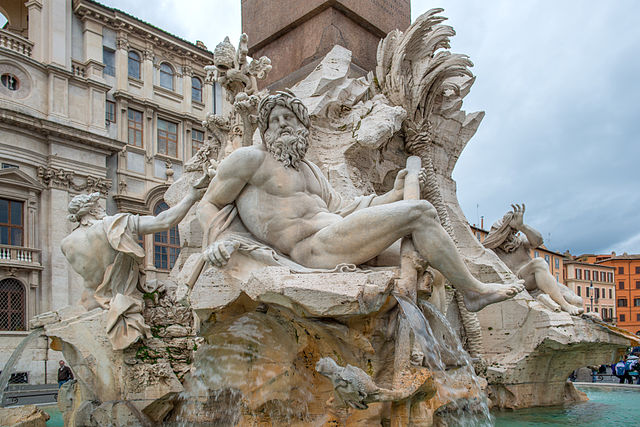 Bernini's statues and Piazza Navona, Rome, Italy