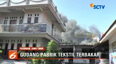 Gudang Pabrik Tekstil di Pasuruan Habis Dilalap Api