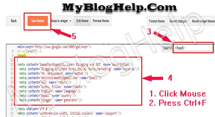 How to Add Meta Tags Code in Blogger Blog? ~ MyBlogHelp– A