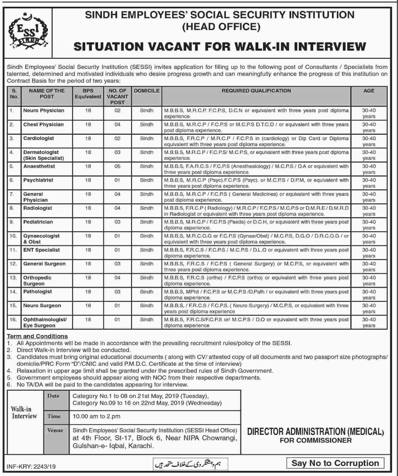 Sindh Employees Social Security Institution SESSI Walk In Interview Jobs