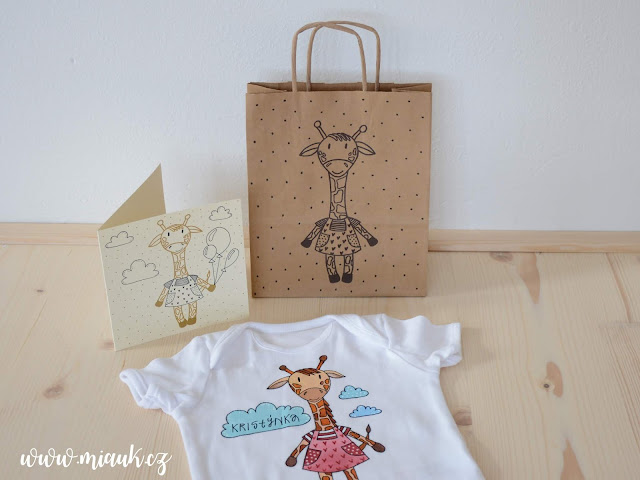 žirafa bodýčko, přání, taška