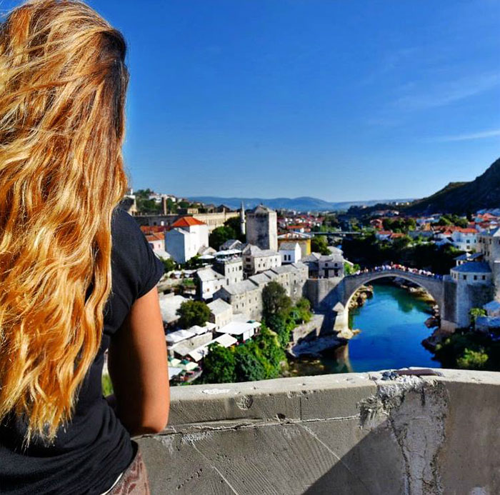 27-Year-Old Woman To Become First Female Ever To Visit Every Country On Earth - And taking in beautiful sights like this view of Mostar bridge in Bosnia and Herzegovina