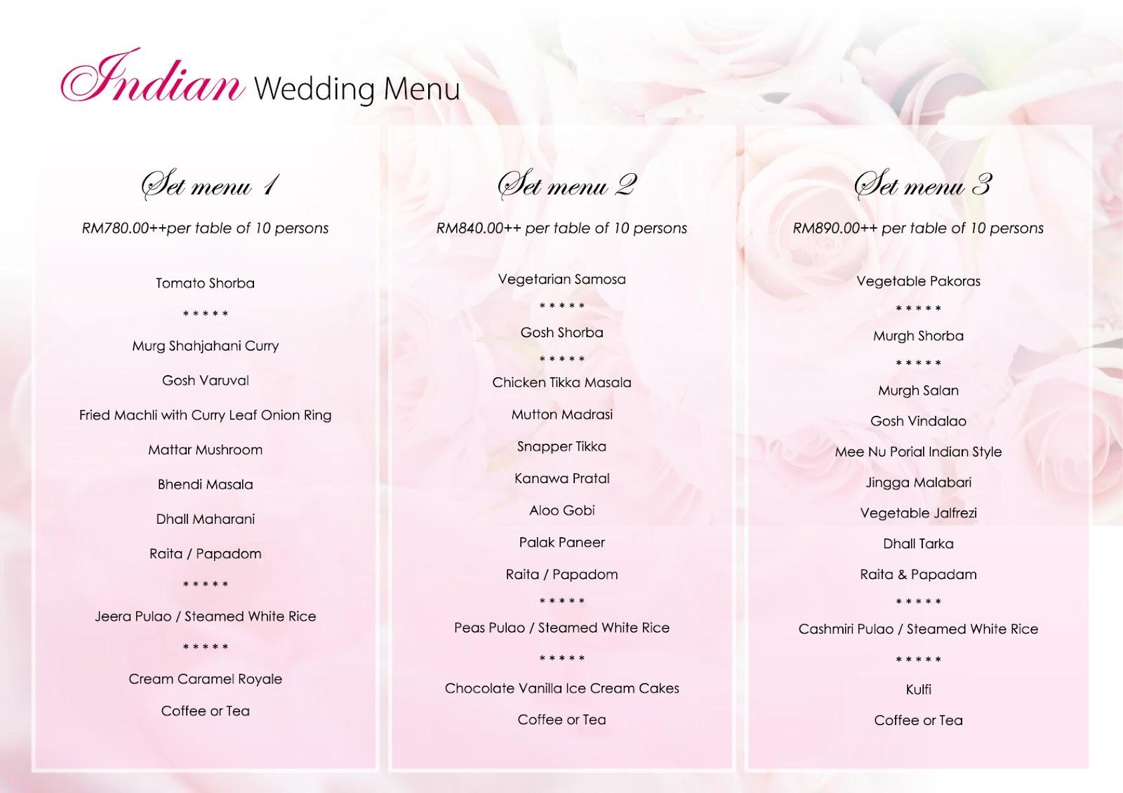 Wedding Food Menu Bing Images