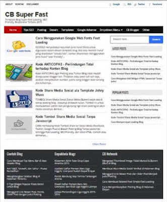 CB Super Fast - Super Fast Loading Blogger Template