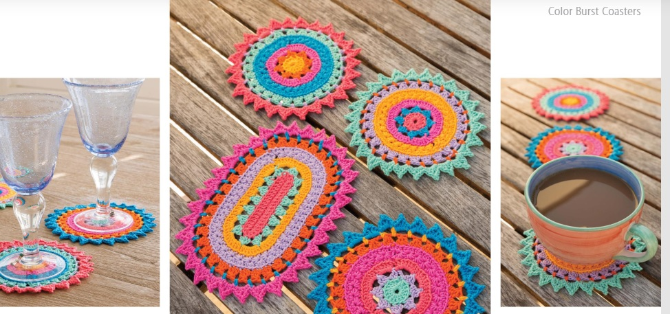 Color Burst Coasters Crochet Pattern