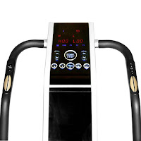 Digital control panel, quick adjust controls & pulse grip heart-rate sensors in handlebars on GForce Pro Cardio Vibration Plate Machine