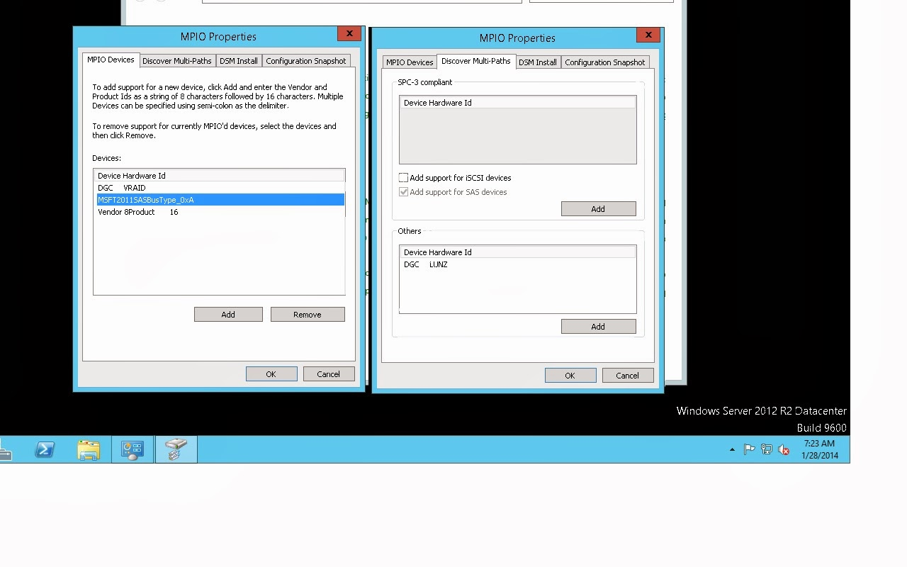 MPIO configuration in Windows 2012 Server R2 with VNX 5300