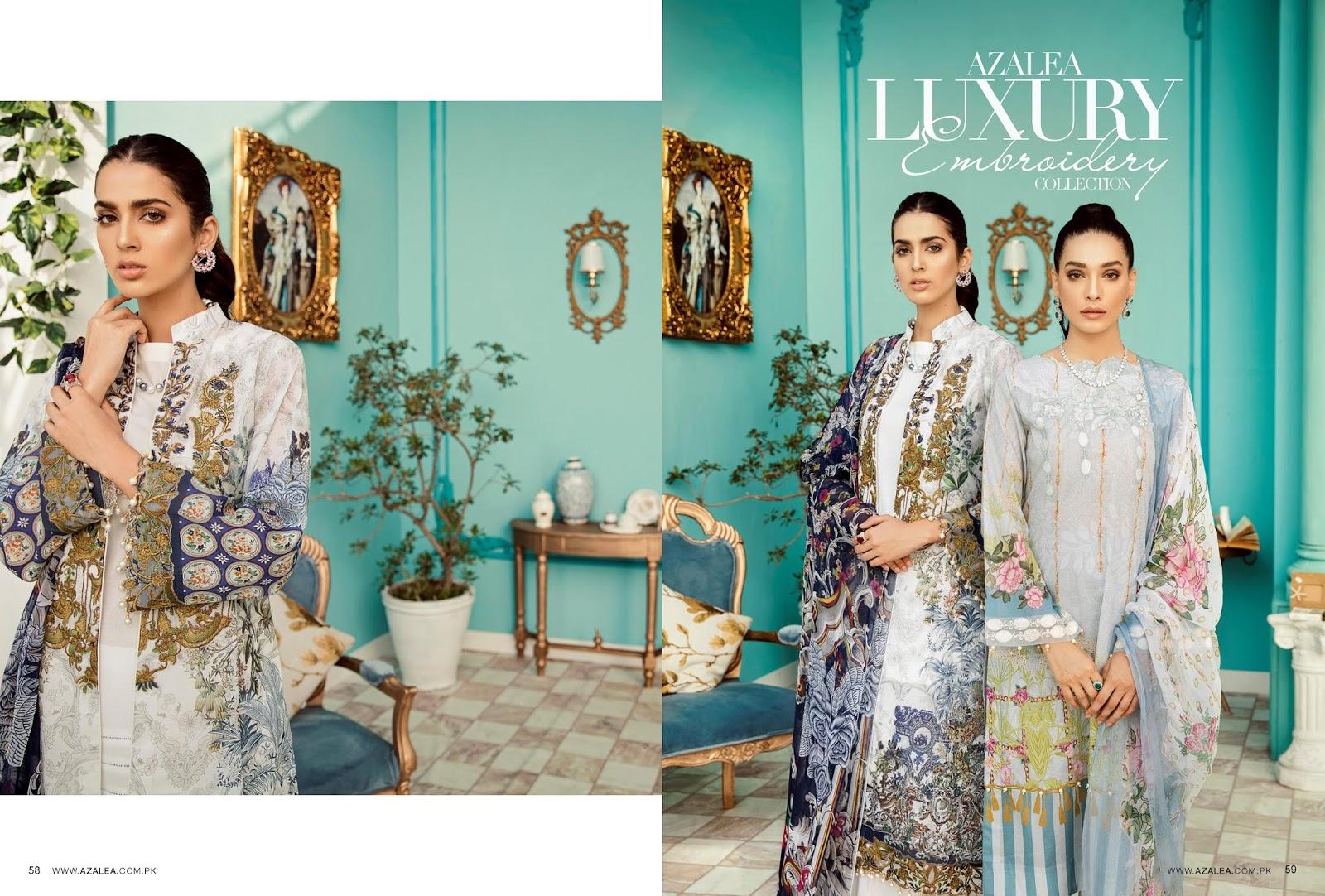 3a6b0b9feb 4Seasons Fashion: Azalea Luxury Digital Embroidered Lawn Collection 2019