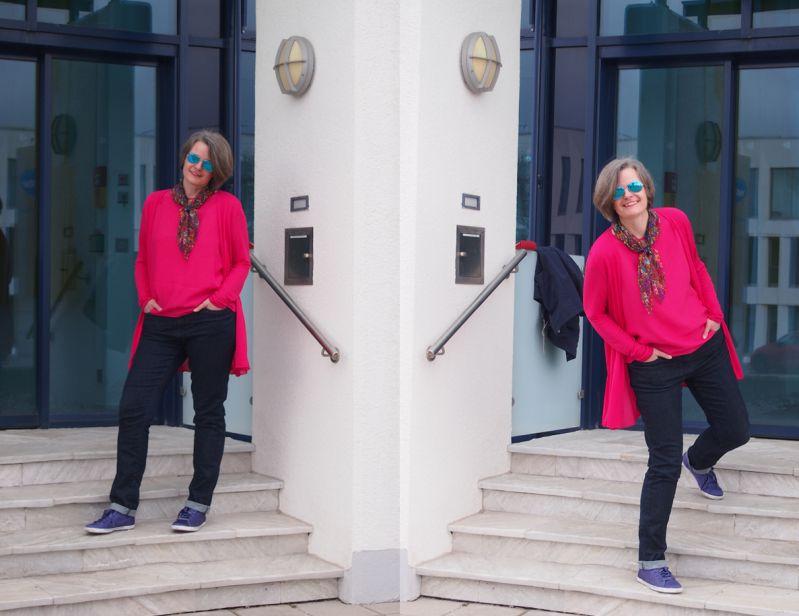 Modefarbe Pink mit Dunkelblau und Ultra Violet kombiniert