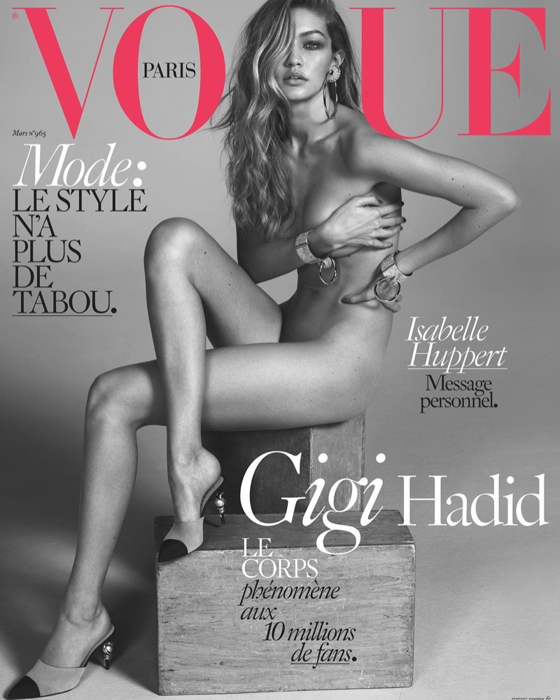 Gigi Hadid Poses Naked on Her First Vogue Paris Cover