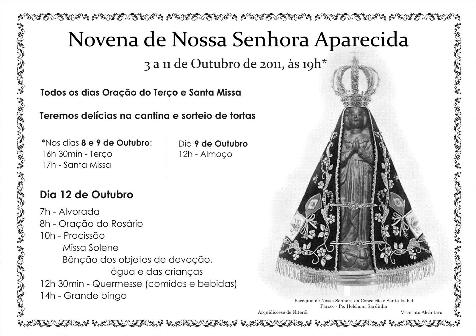 Novena De Nossa Senhora Aparecida: Paróquia Nossa Senhora Da Conceição E Santa Isabel De