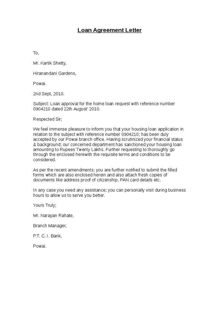 Loan Agreement Letter