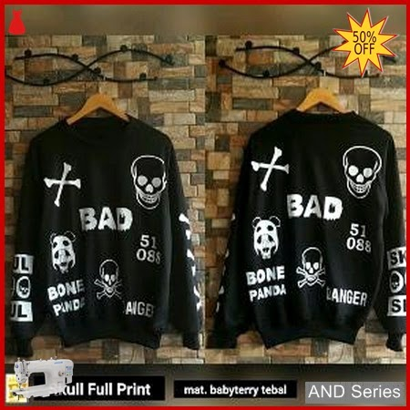 AND358 Sweater Wanita Skull Full Print Hitam BMGShop