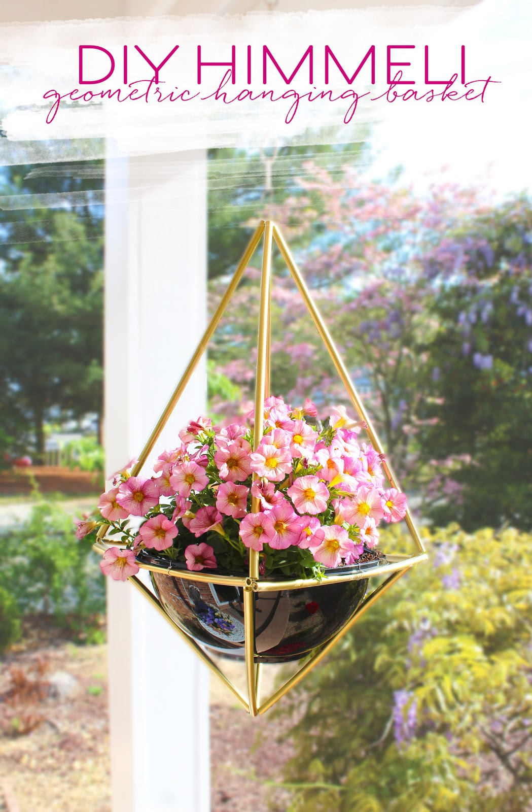 Create an outdoor hanging basket geometric himmeli planter in brass.
