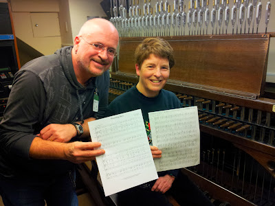 Pierre poses with Dominion Carillonneur, Andrea McCrady