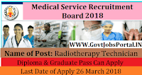 Tamil Nadu Medical Services Board Recruitment 2018- Radiotherapy Technician