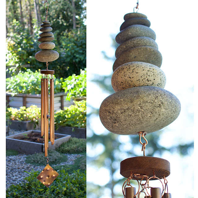 Large natural Zen Pacific beach stone wind chime