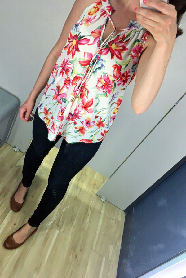 Tropical Floral Print top - Marshalls fitting room looks  - Tori's Pretty Things Blog